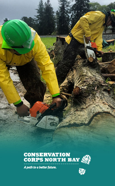 image of California youth workers at an outdoor job provided by Conservation Corps North Bay