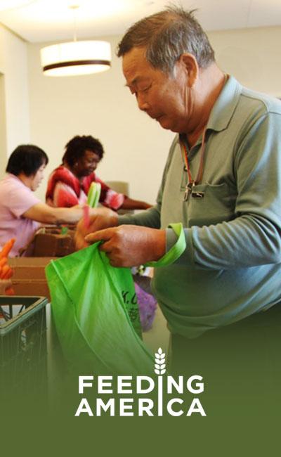 image of an elderly gentleman at his local Feeding America Food Bank